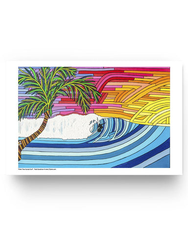Palm Tree Sunset Surf Glossy Poster