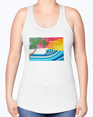 Open image in slideshow, Palm Tree Sunset Surf Women's Racerback Tank