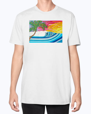 Palm Tree Sunset Surf Fine Jersey Tee Shirt