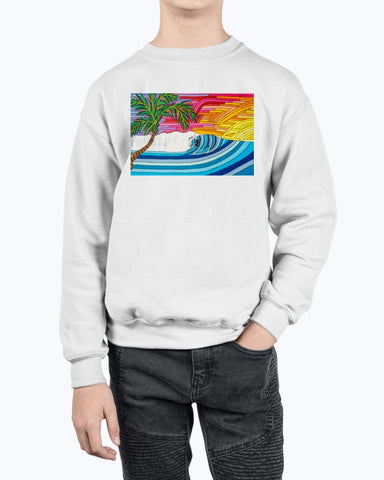 Palm Tree Sunset Surf Youth Fleece Sweatshirt