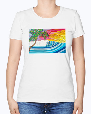 Palm Tree Sunset Surf Women's Fine Jersey Tee Shirt