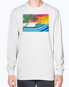 Palm Tree Sunset Surf Unisex Long Sleeve Shirt