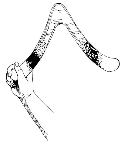 Wooden Boomerang Held in Hand
