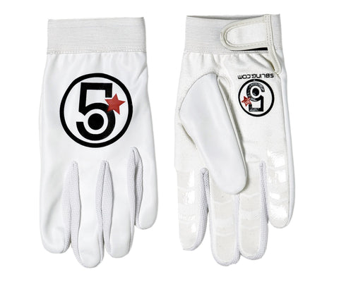 5 Bling Streamline track gloves - white