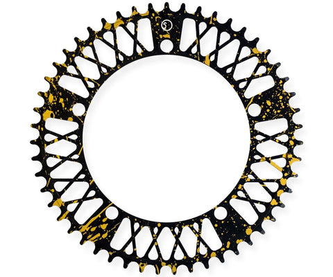 Factory Five Lattice chainring - black & gold splatter - Retrogression
