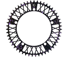 Factory Five Lattice chainring - black & purple splatter - Retrogression