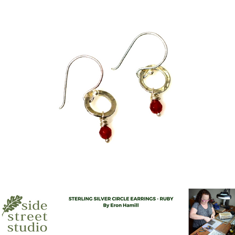 STERLING SILVER CIRCLE EARRINGS - RUBY