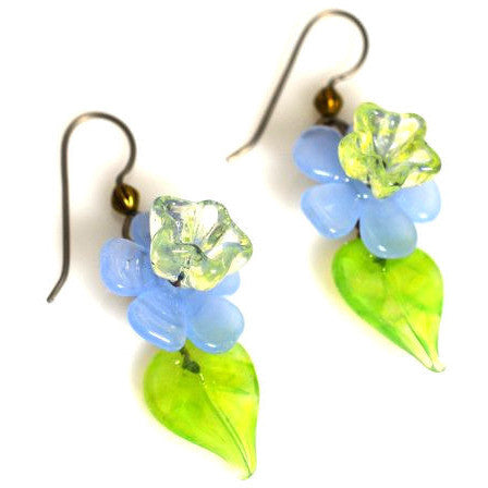 LAMPWORKED FLOWER & LEAF EARRINGS - Side Street Studio