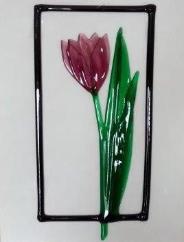Glass hanging pink tulip flower