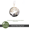 STERLING SILVER ARBUTUS TREE IN CIRCLE PENDANT