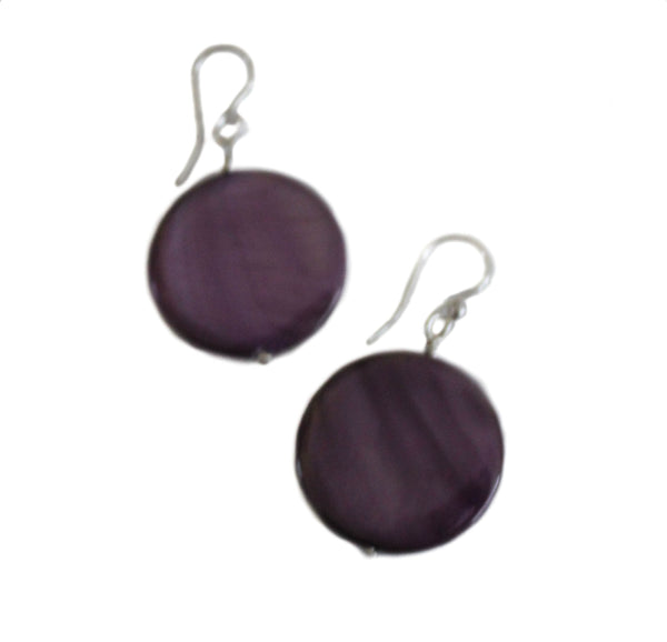 STERLING SILVER PURPLE MOTHER OF PEARL EARRINGS