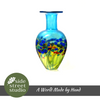 BLUE POPPY FLAT FLASK VASE