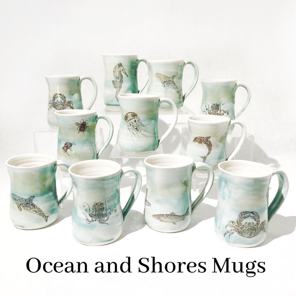 Ocean and Shore Pottery Mugs