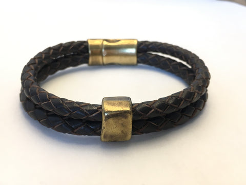 BRAIDED LEATHER WRIST WRAP WITH SQUARE BRONZE BEAD & CLASP -M/L