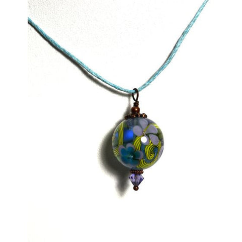 FLORAL GLASS BEAD PENDANT - Side Street Studio