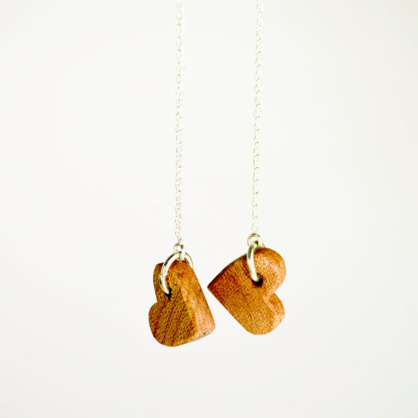 WOOD HEART THREADER EARRINGS