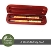 PEN AND PENCIL SET YELLOW CEDAR BURL WOOD - Side Street Studio - 2