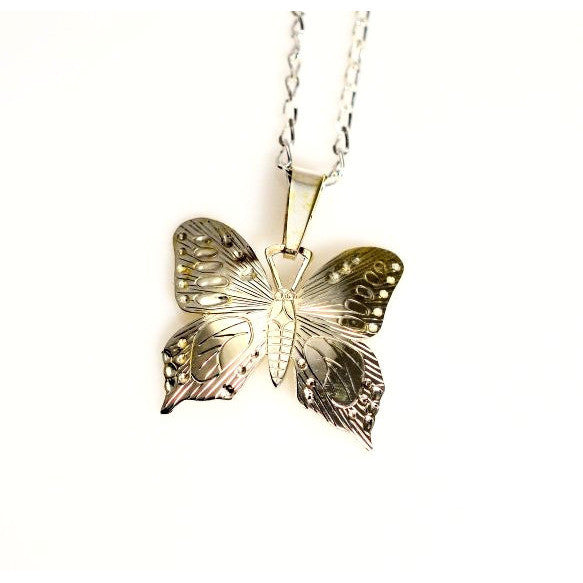 STERLING SILVER BUTTERFLY PENDANT - Side Street Studio