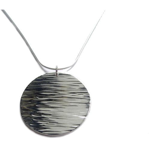 2d2c71755de10 Textured Sterling Silver mini moon with lines pendant necklace