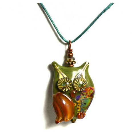 OWL DESIGN GLASS BEAD PENDANT - Side Street Studio