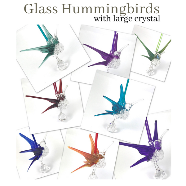 Glass Hummingbird with Large Crystal