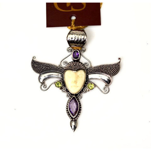 BONE FACED GODDESS WITH AMETHYST & PERIDOT PENDANT - Side Street Studio
