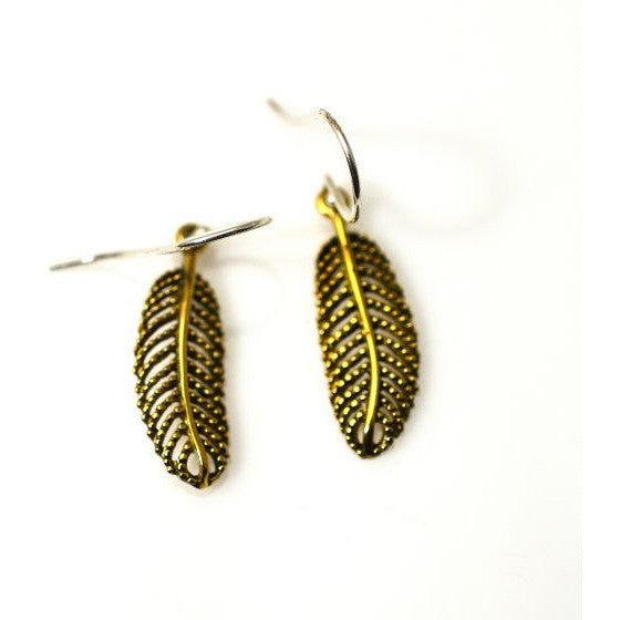 BRONZE FERN EARRINGS - Side Street Studio