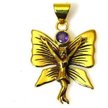 BRONZE BUTTERFLY GODDESS PENDANT WITH AMETHYST - Side Street Studio