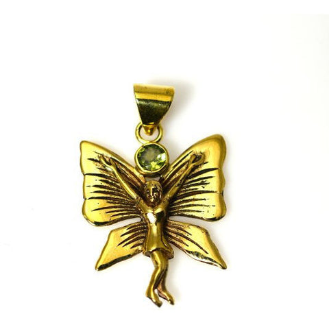 BRONZE BUTTERFLY GODDESS PENDANT WITH PERIDOT - Side Street Studio