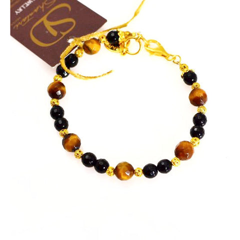 ONYX, TIGERS EYE, BRONZE AND GOLD PLATED SILVER BRACELET - Side Street Studio