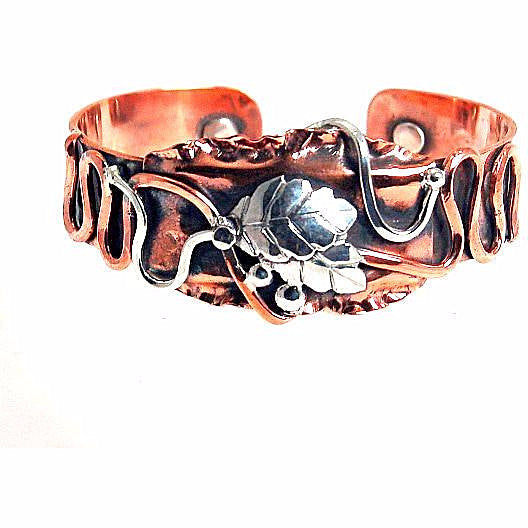 COPPER AND  STERLING CUFF BRACELET - Side Street Studio