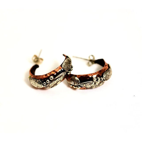 SMALL COPPER AND SILVER HOOPS EARRINGS - Side Street Studio