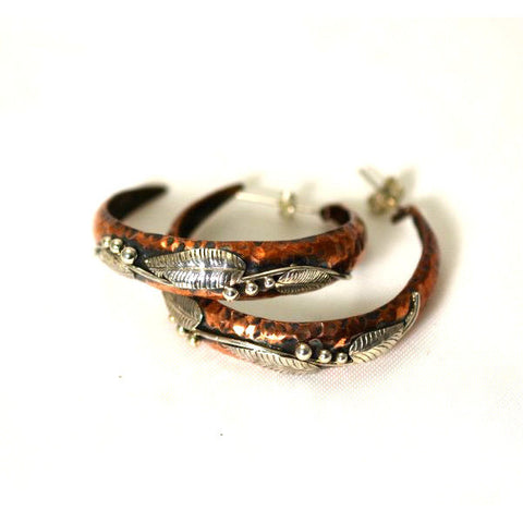LARGE COPPER & SILVER HOOPS EARRINGS - Side Street Studio
