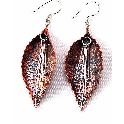COPPER LEAVES WITH SILVER DANGLE EARRINGS - Side Street Studio
