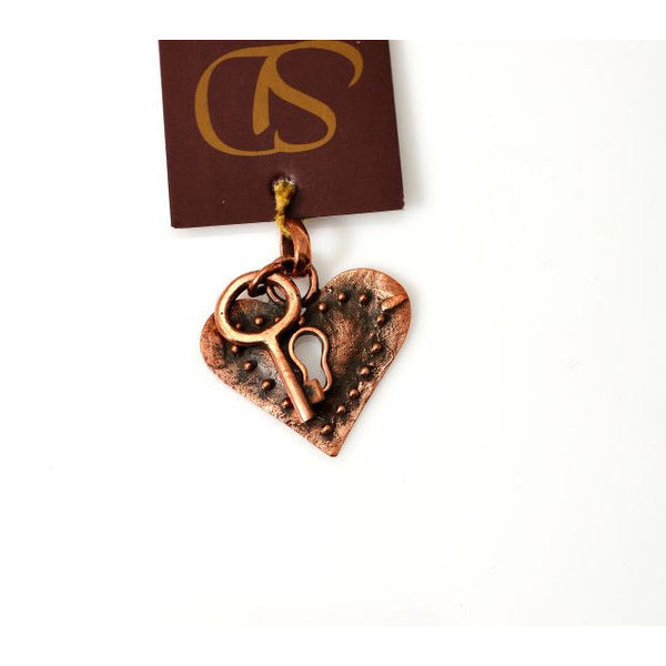 COPPER HEART & KEY PENDANT - Side Street Studio