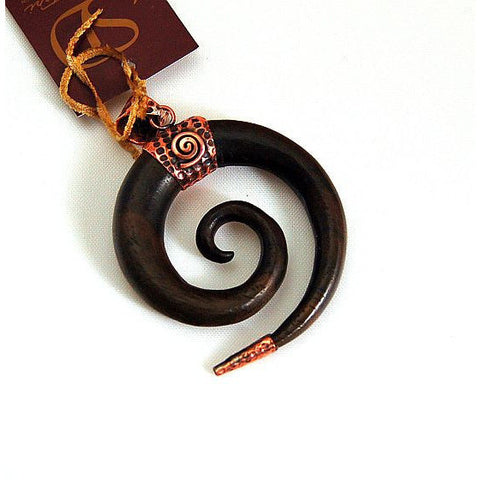 COPPER & EBONY WOOD SPIRAL  PENDANT - Side Street Studio