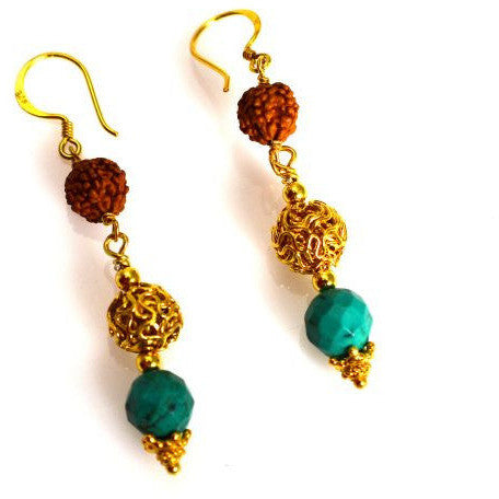 GOLD VERMEIL, RUDRAKSHA AND TURQUOISE EARRINGS - Side Street Studio