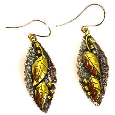 STERLING SILVER AND BRONZE LEAF EARRINGS - Side Street Studio