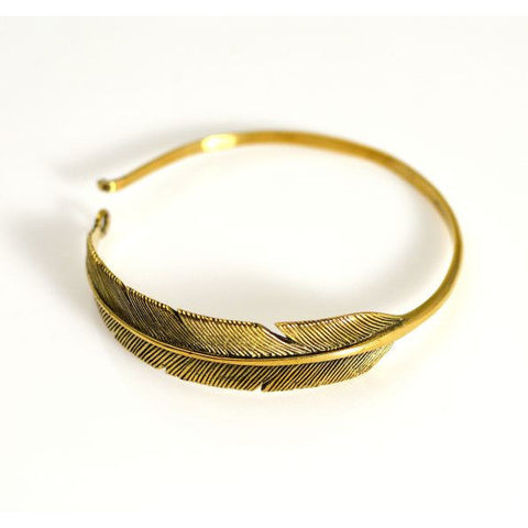 BRONZE FEATHER BANGLE - Side Street Studio
