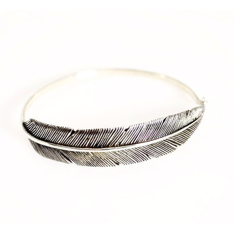 STERLING SILVER FEATHER BANGLE - Side Street Studio