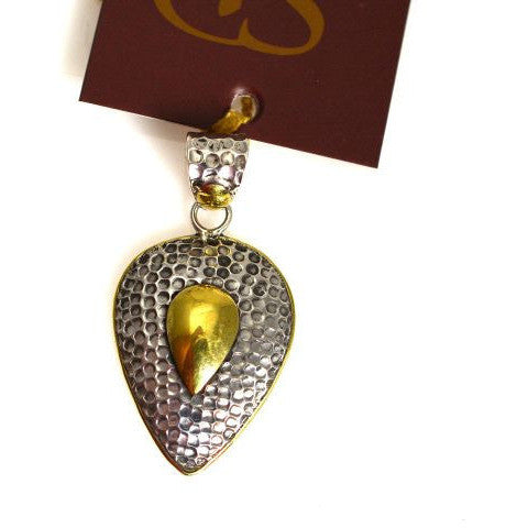 STERLING SILVER AND BRONZE TEARDROP PENDANT - Side Street Studio