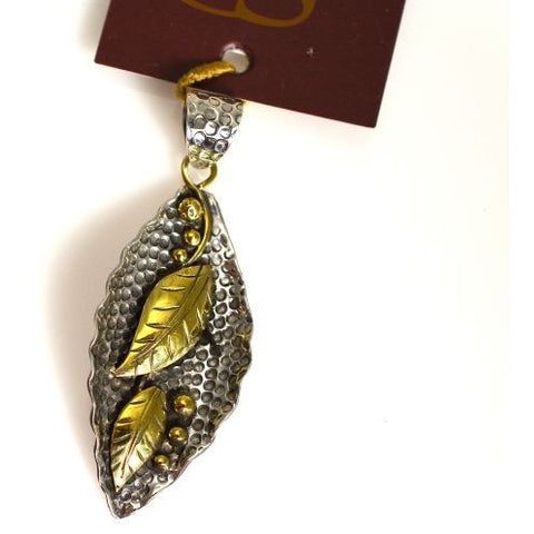 SILVER  & BRONZE LEAF DESIGN PENDANT - Side Street Studio