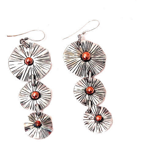 TIERED SILVER AND COPPER EARRINGS - Side Street Studio