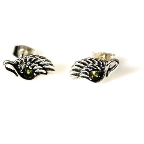 SILVER ANGEL WING STUD EARRINGS  WITH PERIDOT - Side Street Studio