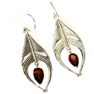 SILVER FEATHER EARRINGS WITH GARNET - Side Street Studio