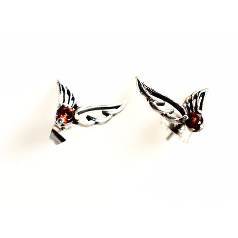 SILVER GUARIAN ANGEL STUDS WITH GARNETS - Side Street Studio