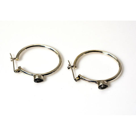 SILVER HOOP EARRINGS WITH TOPAZ - Side Street Studio