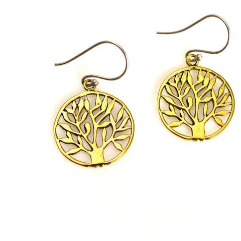 BRONZE TREE OF  LIFE  EARRINGS - Side Street Studio