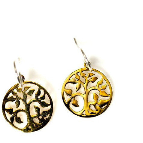 BRONZE ABSTRACT TREE OF  LIFE  EARRINGS - Side Street Studio