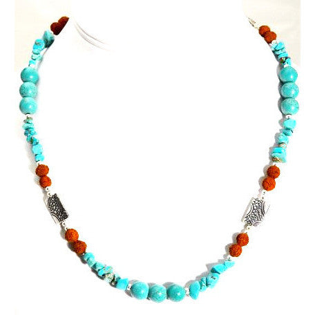 TURQUOISE, RUDRAKSHA & STERLING SILVER NECKLACE - Side Street Studio